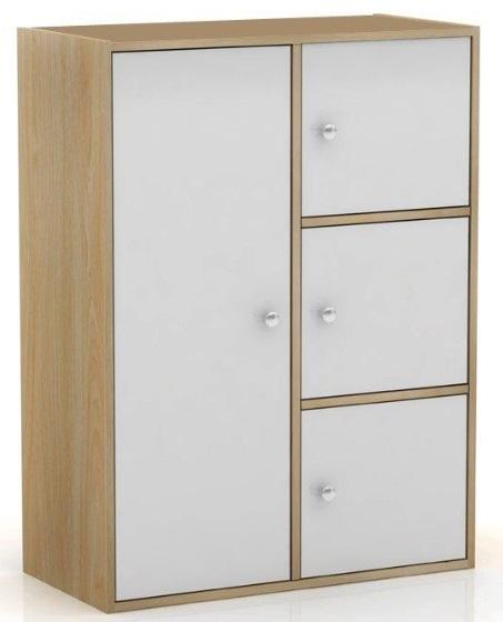 Storage Cupboard 4 Door Wide Cabinet Compact White Oak