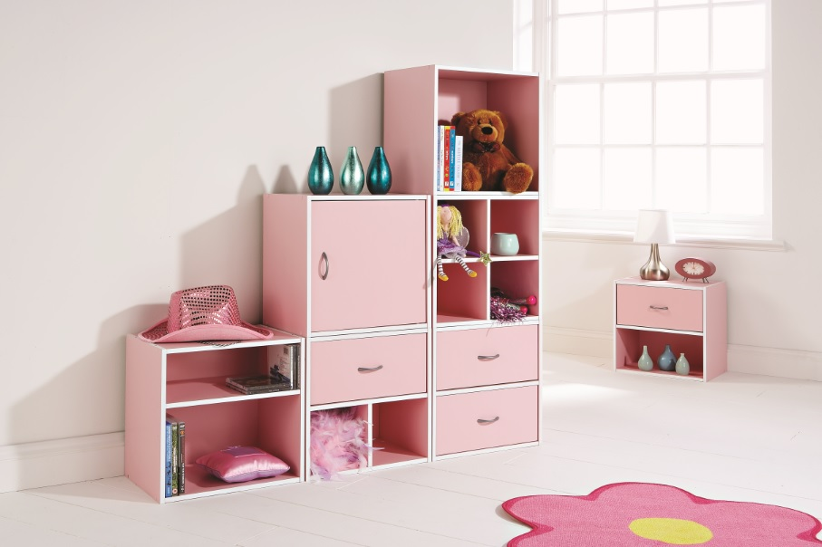 kids bedroom storage cube system pink shelving system 1