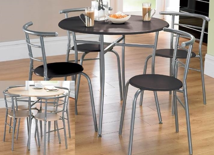 Round dining table set kitchen table and 4 chairs black grey frame compact ebay - Round kitchen table and chairs uk ...