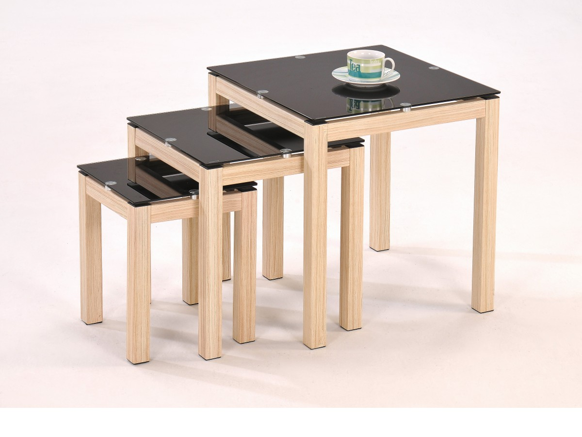 nest of tables oak veneer black glass coffee occasional. Black Bedroom Furniture Sets. Home Design Ideas