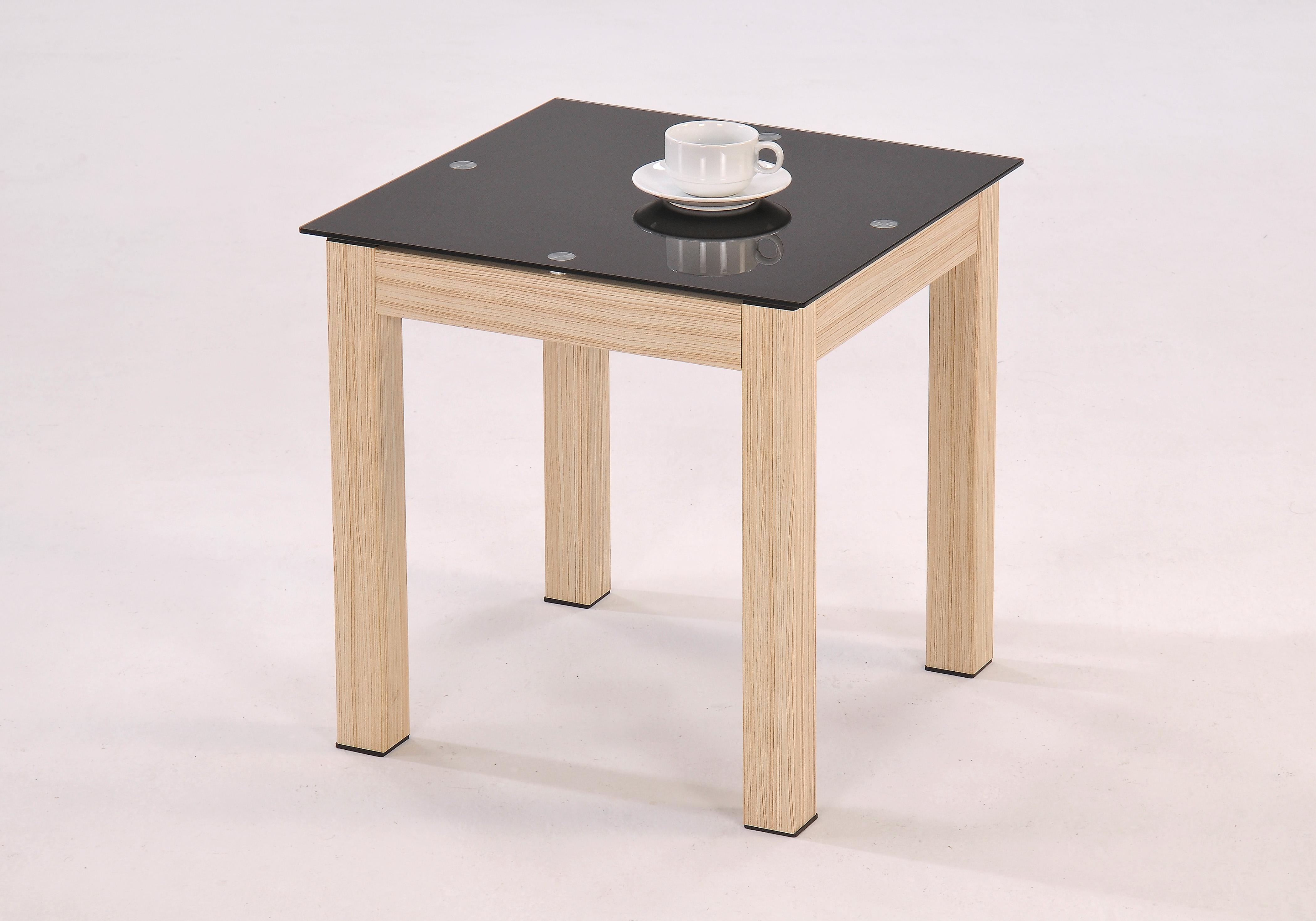 Lamp table oak veneer black glass top coffee occasional for Glass top occasional tables