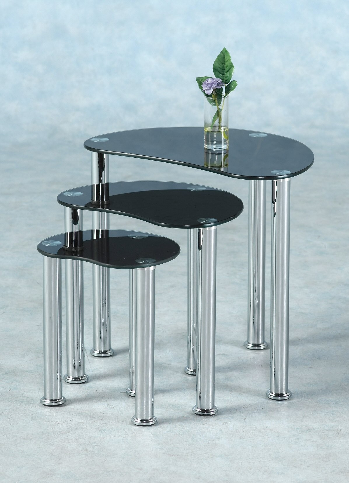 black glass nest of tables set of 3 occasional coffee side