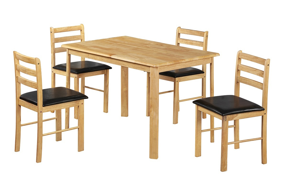 Solid wood dining table chair set natural