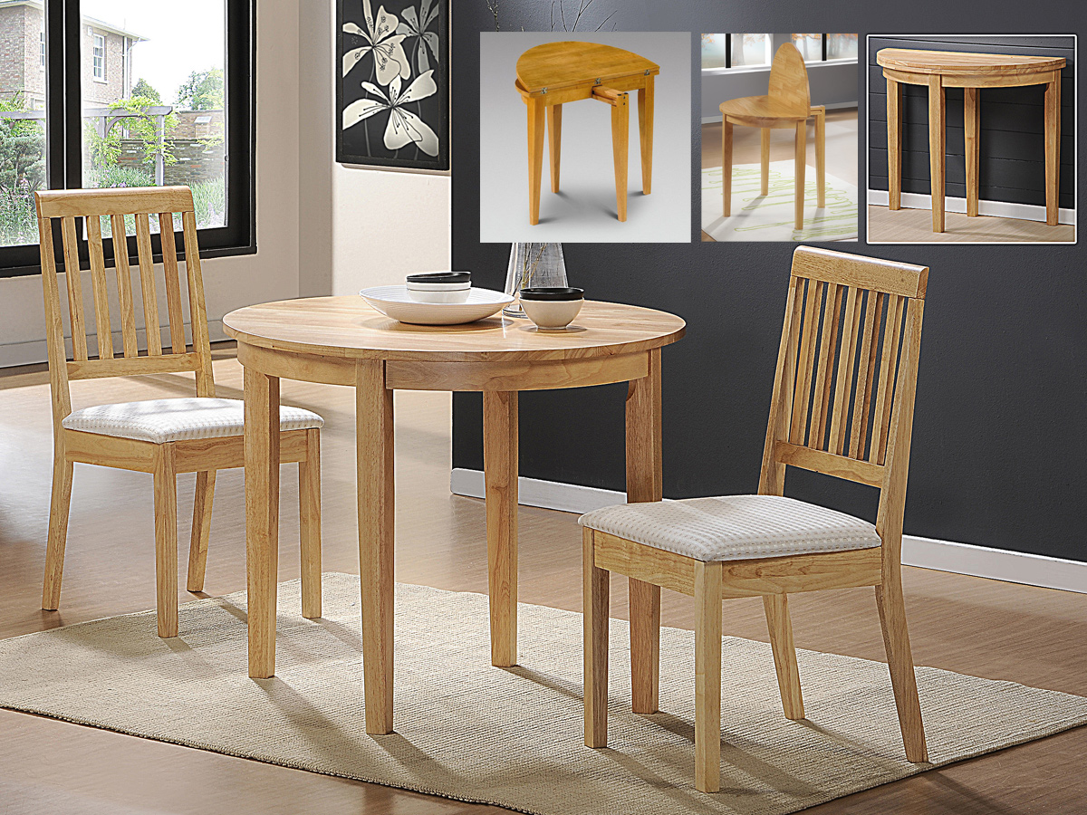 Solid wood dining table round drop leaf extending 2 dining for Solid wood round dining table with leaf