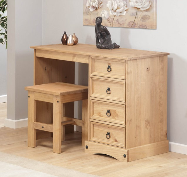 Vanity Dresser With Light : Dressing Table with Stool Aztec Light Corona Solid Pine Dresser 4 Drawer Vanity eBay