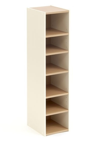 Shoe Storage Cupboard Tower Open Cream Beech 6 Shelf