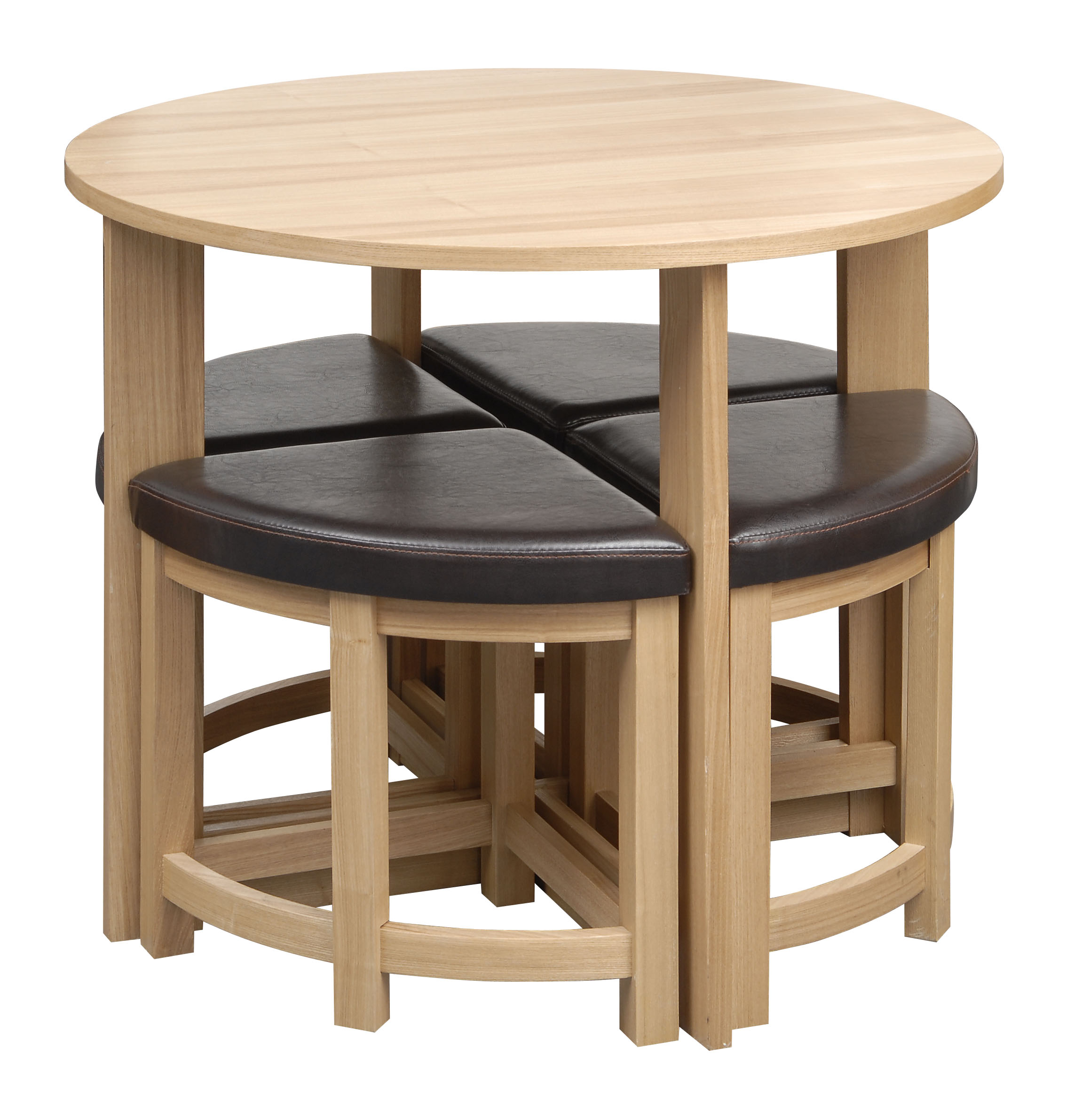 Dining table set round oak effect 4 seater brown padded for Stowaway dining table