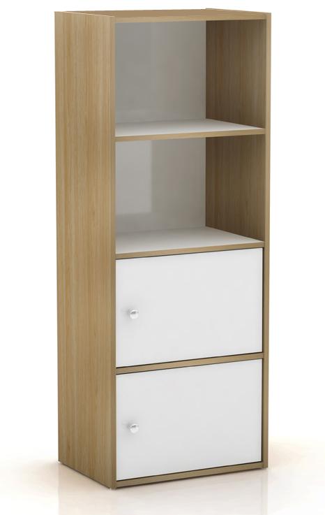 bookcase white oak storage cabinet narrow 2 shelf 2 door. Black Bedroom Furniture Sets. Home Design Ideas