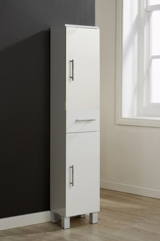 White bathroom tall cabinet 2 door 1 drawer gloss cupboard - Tall bathroom storage cabinets with doors ...