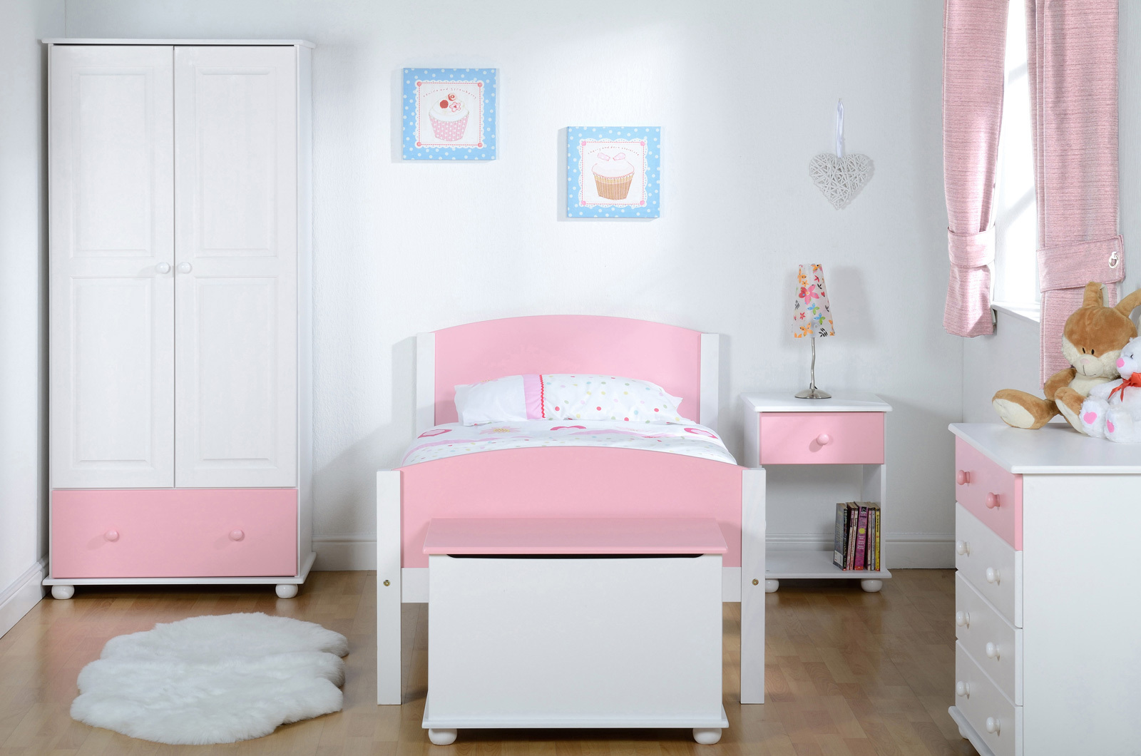 kids bedroom furniture pink white wardrobe bed chest of drawers bedside ottoman | ebay