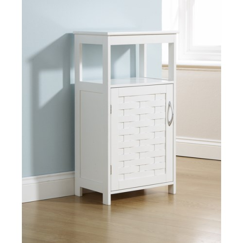 White bathroom floor cupboard 1 door cabinet open shelf for Bathroom floor cabinet