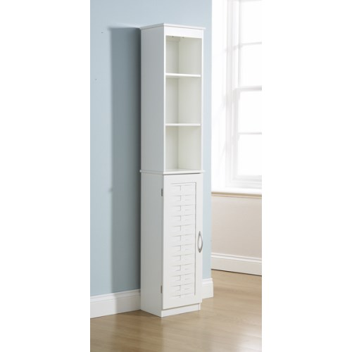 White Bathroom Tall Cupboard 1 Door Cabinet 3 Shelves Bath
