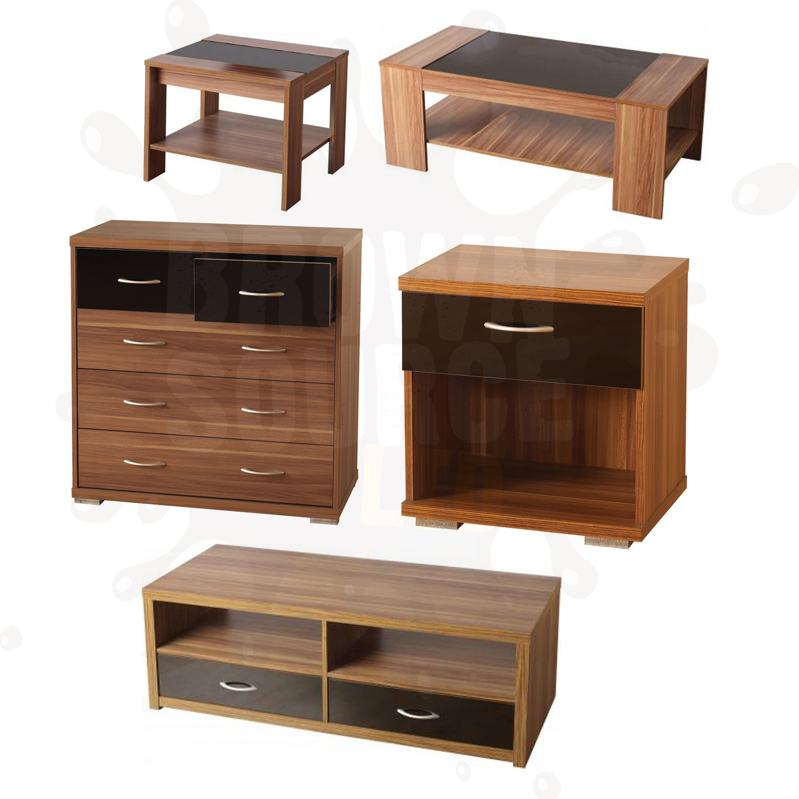 Walnut black coffee table tv stand lamp table chest of drawers bedside cabinet ebay Coffee table tv stand set