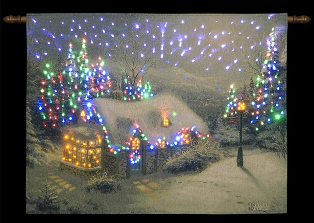 Led Christmas Wall Lights : Xmas Wall Decoration Hanging Tapestry LED Christmas Lights Illuminated Picture eBay