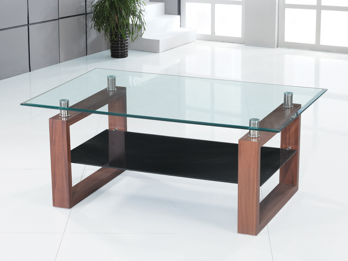 Coffee table clear black glass dark wood legs 1 shelf occasional reception ebay Dark wood coffee tables