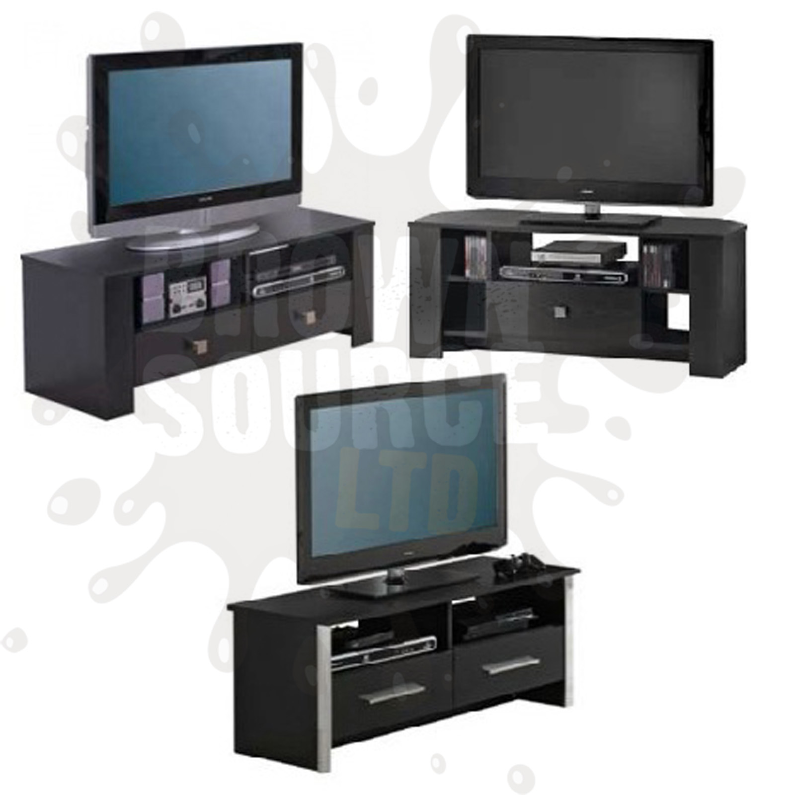Black Tv Stand Widescreen Lcd Television Cabinet Plasma