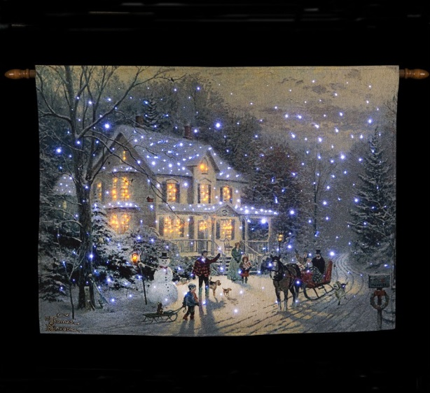 Hang Christmas Lights On Wall : Xmas Wall Decoration Hanging Tapestry LED Christmas Lights Illuminated Picture eBay