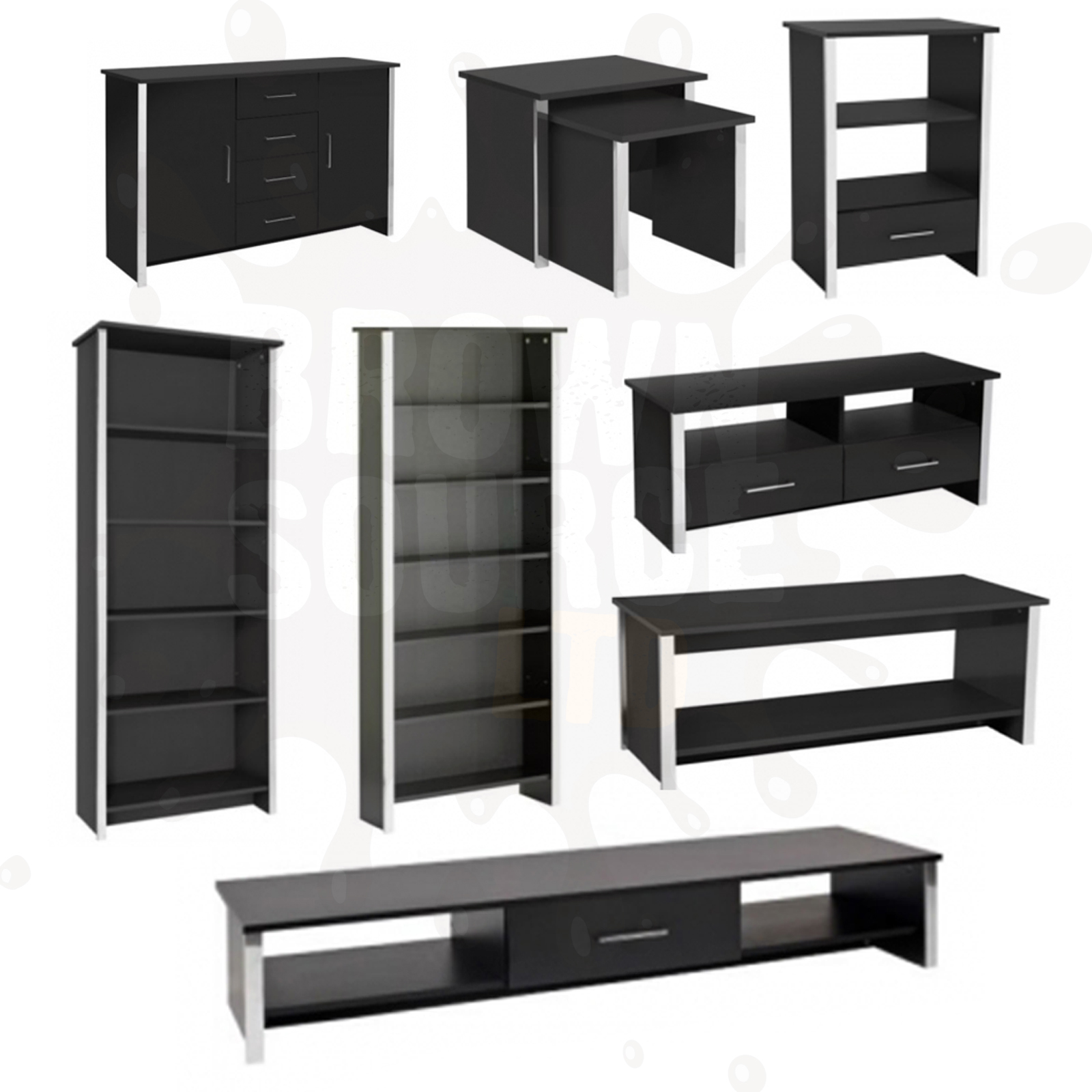 Coffee Table And Entertainment Unit Set: Bookcase Coffee Table TV Stand Nest Of Tables