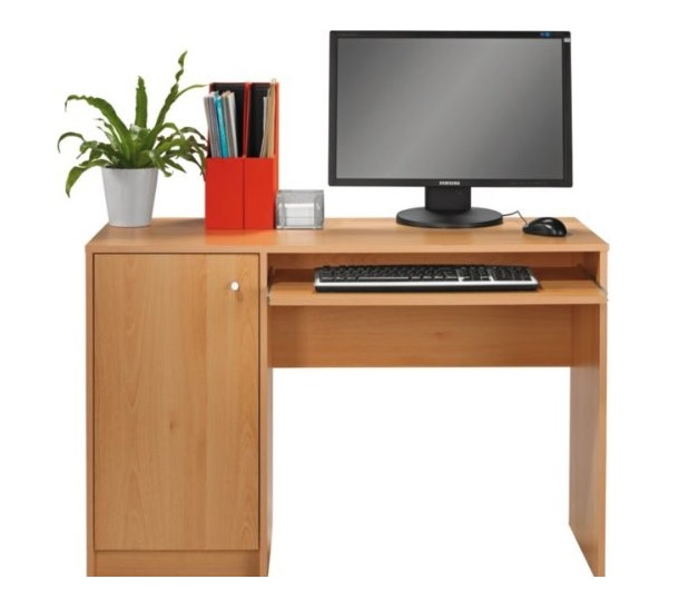 Beech Desk Home Office Computer Work Station Pull Out