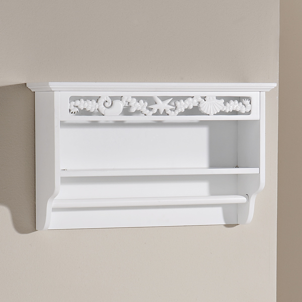 White Bathroom Towel Rail & Shelf Wall Mounted Coral