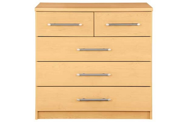 Chest Of Drawers 3+2 Beech Bedroom Furniture 5 Drawer Set