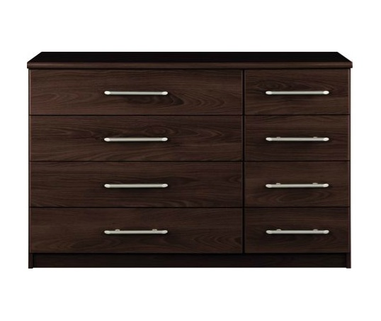 Chest of Drawers 4+4 Dark Wood Bedroom Furniture 8 Drawer Vancouver Wenge