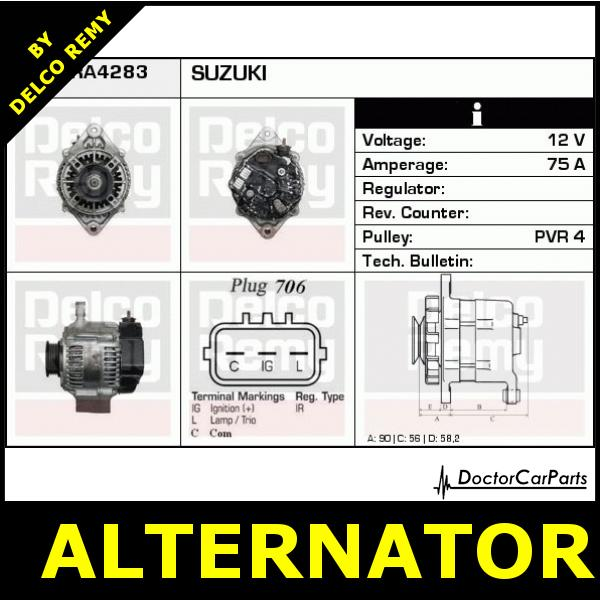 Alternator Suzuki Liana  Jimny  Ignis  Swift  Sx4 Dra4283