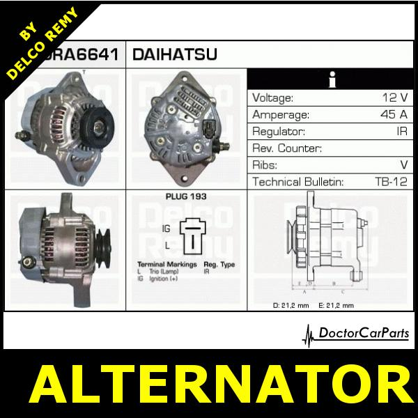 Daihatsu Alternator Wiring Diagram : Alternator opel astra daihatsu charade piaggio porter