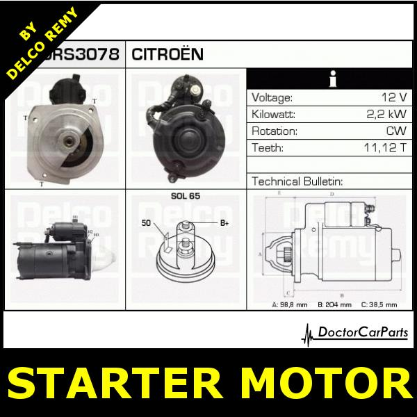 starter motor citroen cx c25 peugeot j5 drs3078 ebay. Black Bedroom Furniture Sets. Home Design Ideas