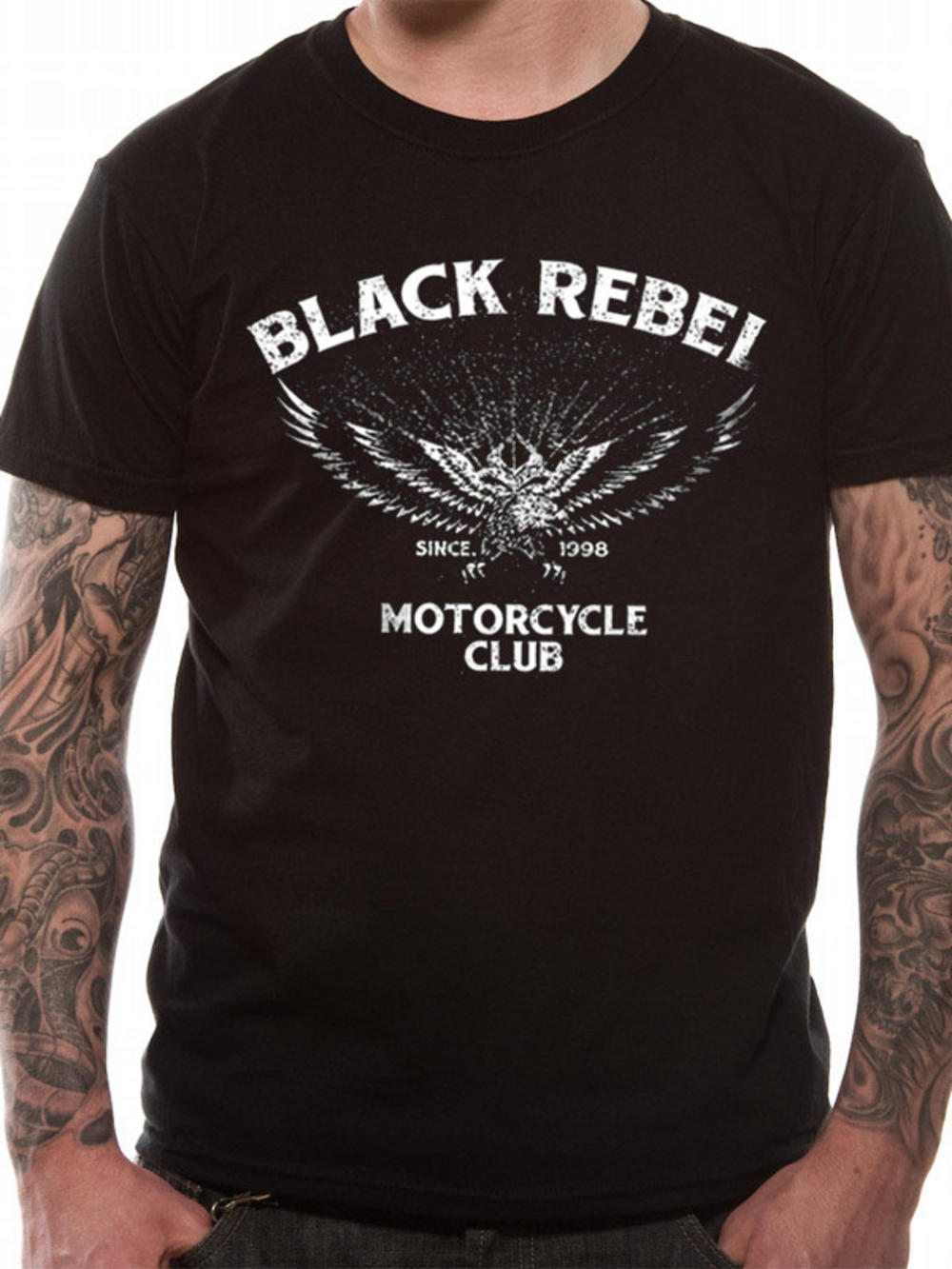Black rebel motorcycle club logo t shirt tm shop for T shirts for clubs