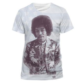 Jimi Hendrix (All Over Flag) T-shirt Preview