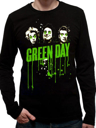 Green Day (Drips Mens Black Long Sleeve) T-shirt Preview
