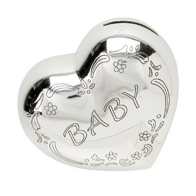 Silverplated Heart Shaped Money Box New