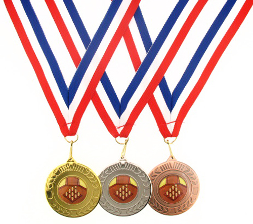 50mm Metal Skittles Laurel Medal -Gold, Silver or Bronze-FREE POSTAGE & ENGRAVED