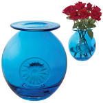 Dartington Crystal Globe Flower Vase Daisy Turquoise Brand New