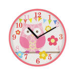 Kiddiwinks Plastic Wall Clock Pink Owl Brand New