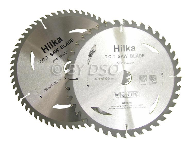 Hilka  2 pce TCT Circular Saw Blades 250mm with 30mm bore and Adapter Rings