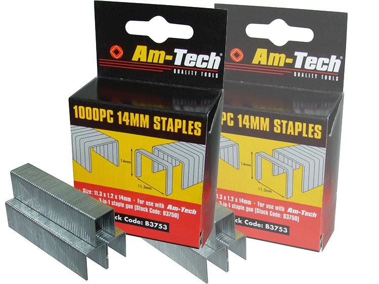 Am-Tech 1000pc 14mm Staples AMB3753