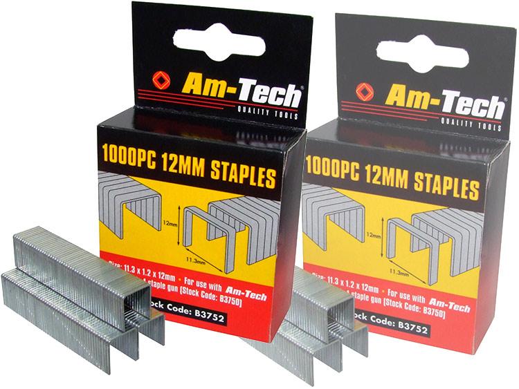 Am-Tech 1000pc 12mm Staples AMB3752