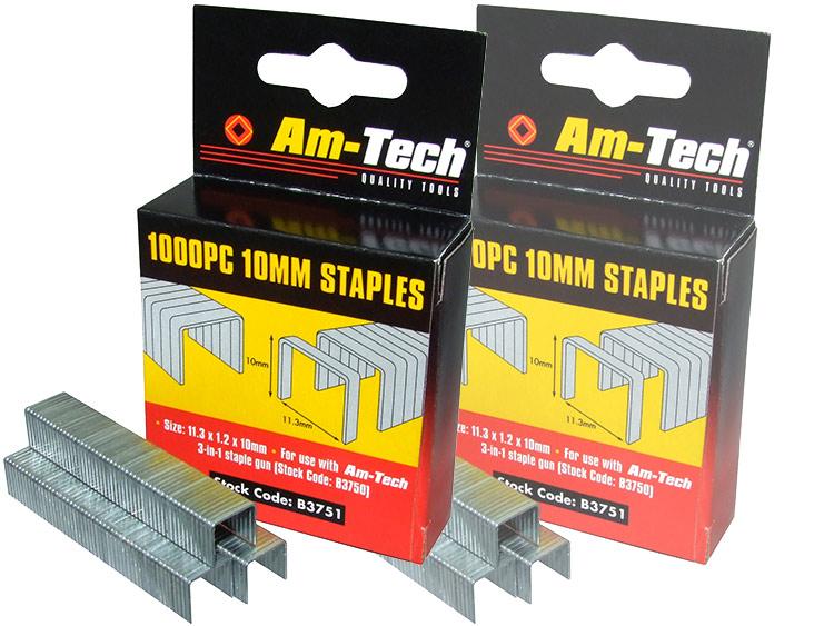 Am-Tech 1000pc 10mm Staples AMB3751