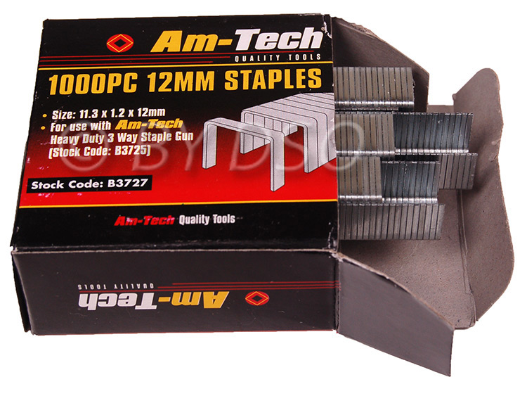 Am-Tech 1000pc 12mm Staples AMB3727
