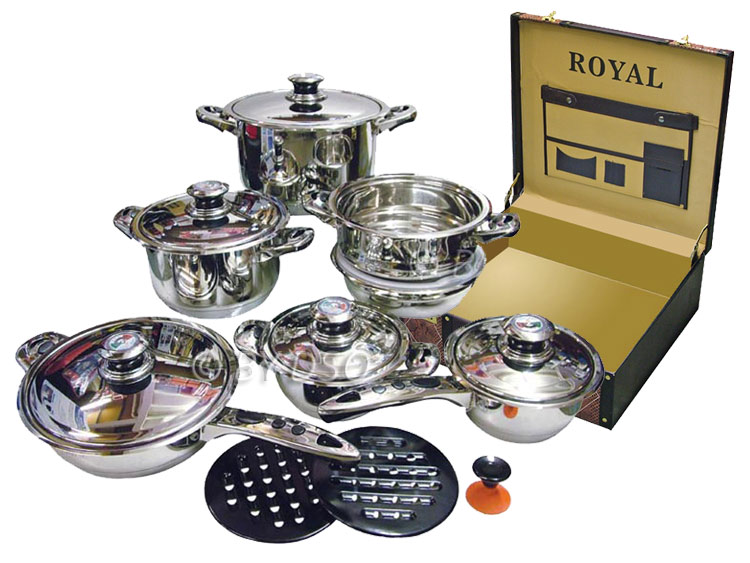royal superior 17 piece induction cookware set with black. Black Bedroom Furniture Sets. Home Design Ideas
