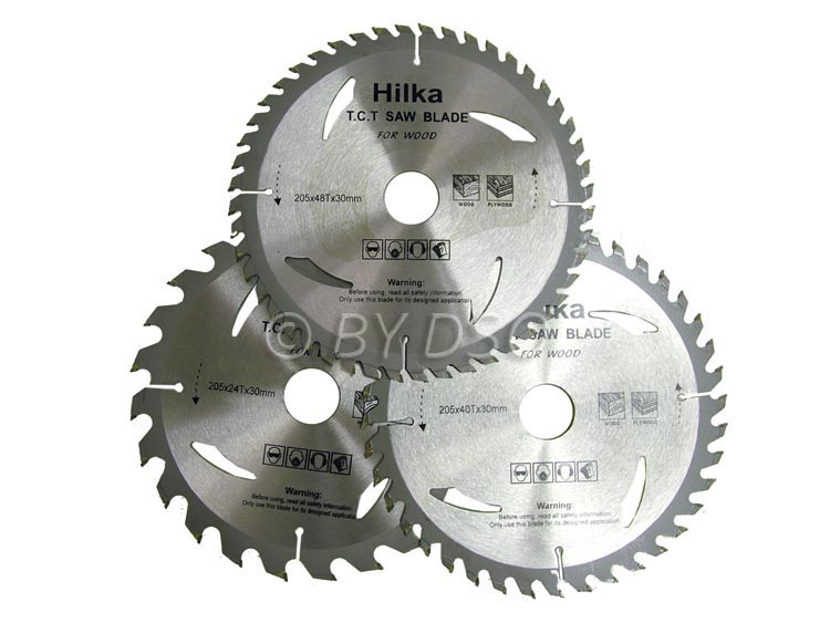 Hilka 3 pce TCT Circular Saw Blades 205mm, 30mm Bore,  Adapter Rings HIL51205003