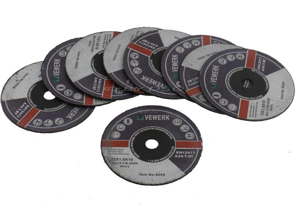 BERGEN 75mm x 1.6mm x 10mm Metal Cutting Discs 10 Pack BER8009