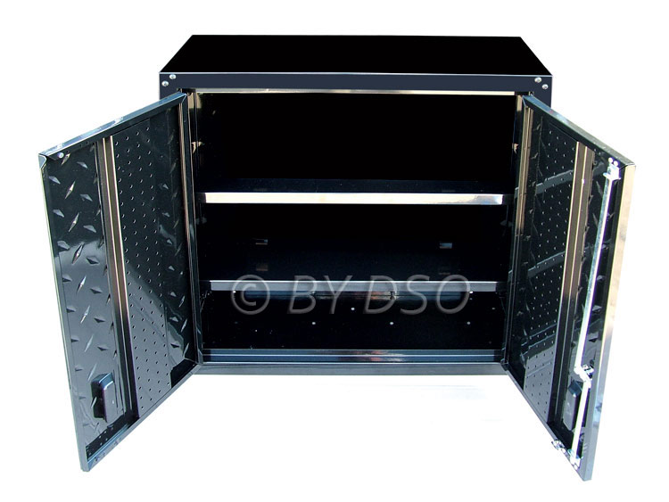 Hilka Black Garage Wall Unit Steel Storage Cabinet HILWC2DB