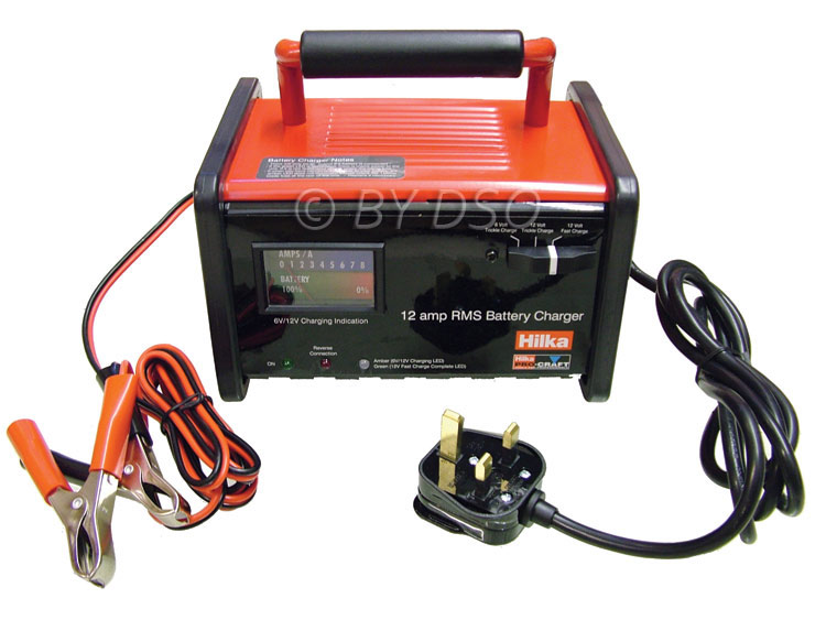 Hilka Portable 6/12V 12Amp Automatic RMS Battery Charger in Metal Case
