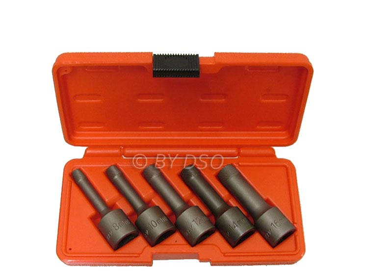 BERGEN 5 Piece 1/2 inch Drive Bolt Extractor Kit with Reverse Thread 8 - 16mm