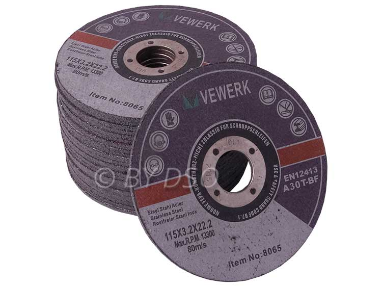 BERGEN VEWERK Ultra Thin 25 Metal Cutting Discs with Flat Center 115x3.2x22.2 mm