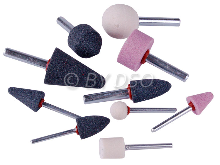 """HILKA 10 Piece 1/4"""" and 1/8"""" inch Mounted Stone Set for Die Grinders and Drills"""