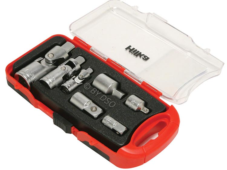 """Hilka 7 Pc Adaptor and Universal Joint Set in Case 1/4"""" and 1/2""""  HIL6200700"""